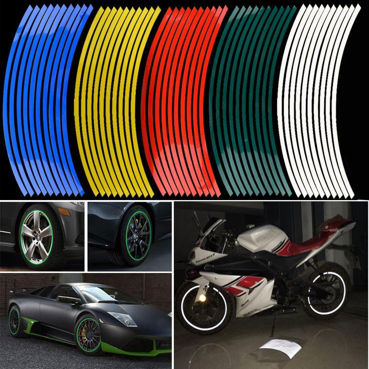 """Mới nhất! 16 Cái Strips Dán Bánh Xe Và Đề Can 14 """"17"""" 18 """"phản quang Rim Băng Xe Đạp Xe Máy Xe Băng 5 Colors Car Styling"""
