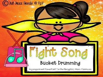This product is a powerpoint presentation intended to be used in the elementary music classroom. Your students will enjoy reading music and performing these rhythms on bucket drums to a popular pop song while you are addressing various national music standards.