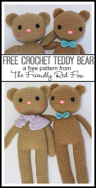 Free crochet pattern for this teddy bear! Perfect project for beginners or the more advanced! | ☂ᙓᖇᗴᔕᗩ ᖇᙓᔕ☂ᙓᘐᘎᓮ http://www.pinterest.com/teretegui