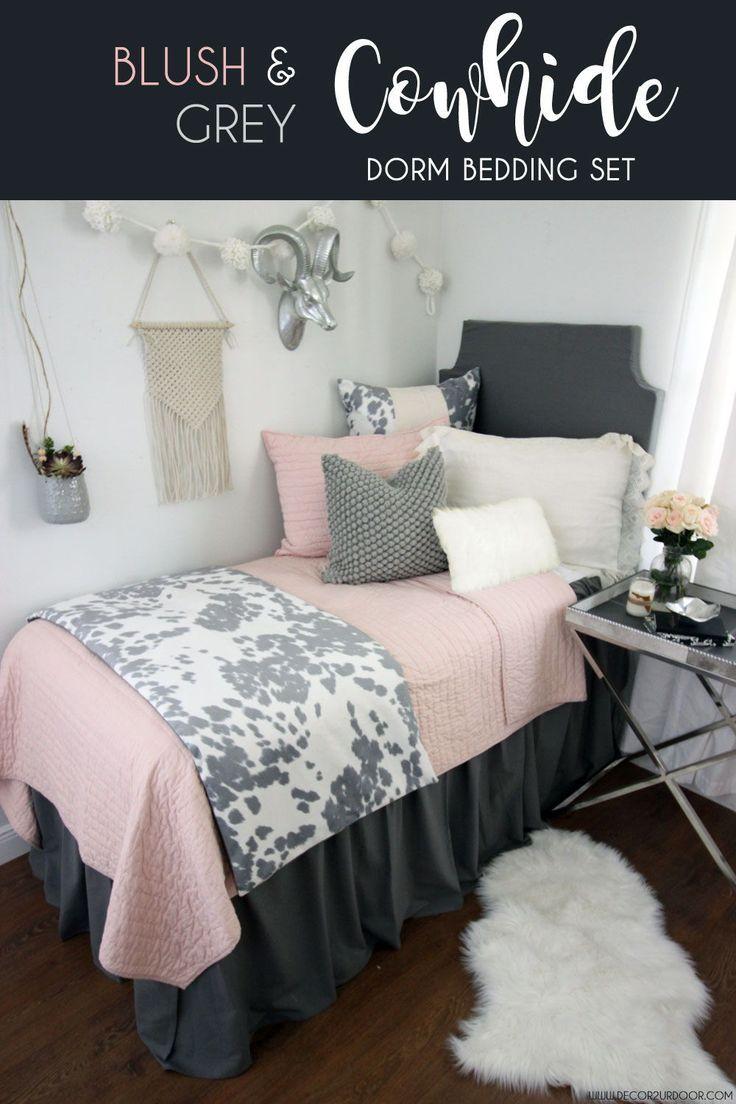 Blush Grey Cowhide Dorm Bedding Set In 2020 Dorm Bedding Dorm