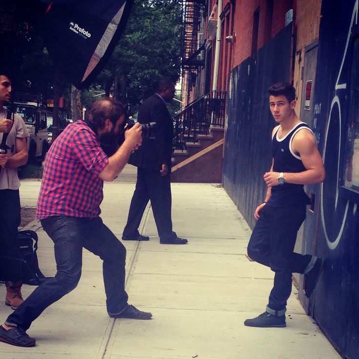 Nick Jonas on set for a Men's Fitness photo shoot ...
