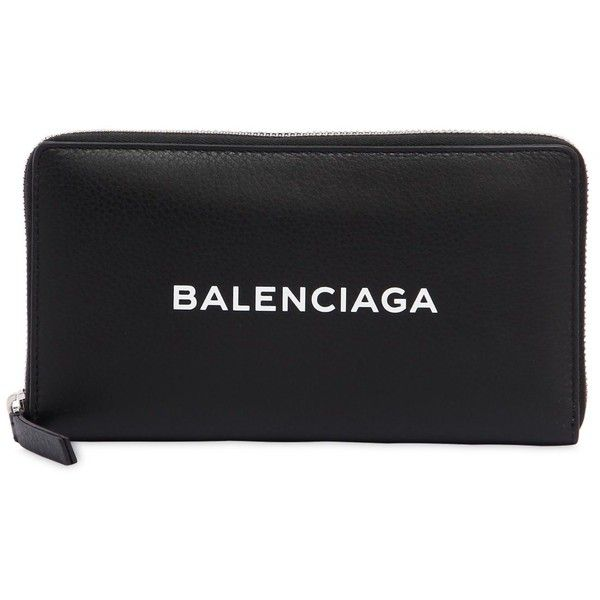 Balenciaga Women Logo Printed Leather Zip Around Wallet ($585) ❤ liked on Polyvore featuring bags, wallets, black, leather bags, balenciaga bag, leather wallets, genuine leather wallet and real leather bags