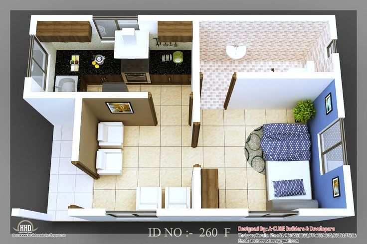 very small house pictures | 3D isometric views of small house plans | Indian Home Decor