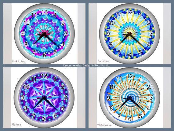 Wall clock mandala design - choose your favorite design: Pink Lotus - Sunshine - Planula - Waterwave  This wall clock brings colour in your home,
