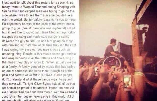*cries for days* this is why I don't freaking understand why people think badly upon our music. I bet you absolutely NO ONE would be allowed to crowd surf at a one direction/ justin bieber concert