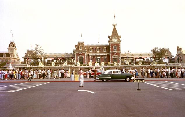 Disneyland entrance in 1955