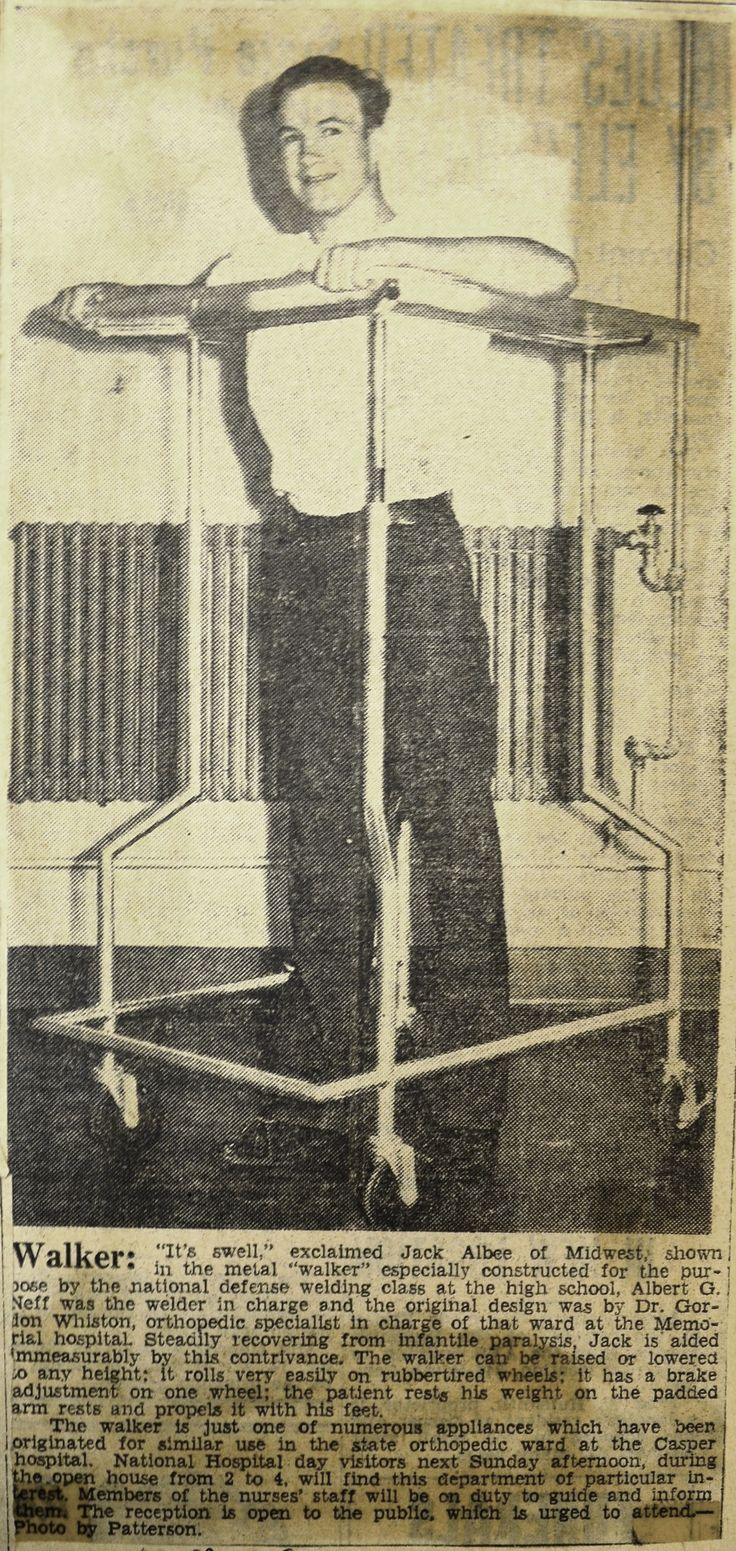 "‪#‎ThrowbackThursday‬: On May 9, 1941, the Casper Tribune-Herald took a peek into our ""polio ward,"" highlighting a walker and spastic chair designed by local orthopedic specialist Dr. Gordon Whiston and built by local firemen and high school students."