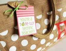 Teacher Appreciation Printable Tags... Tote-lly Terrific! - Uncommon Designs offers this adorable idea. You can find cute totes for your teacher just about anywhere nowadays. Stock it full of goodies by aging everyone donate an item! Coordinate your gift basket donations online with a sign up.