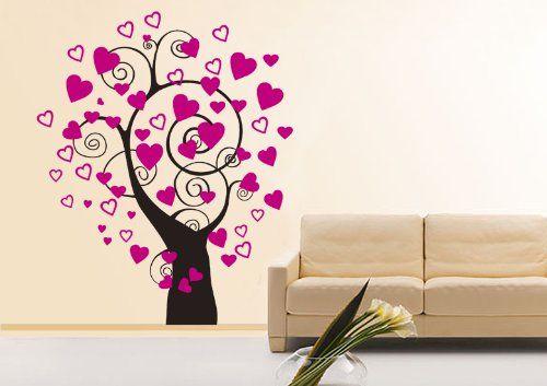 parete tatuaggio Adesivo adesivo muro Adesivi da parete Stickers murali soggiorno, camera per bambini sala CUCINA cuore albero rami 30 colori a scelta wbm01 (034 arancione, size2:ca.120x66cm )