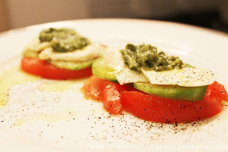 Clean Eating Recipe – Crunchy Tomato Mozzarella Pesto Stack | Weight Loss Meals and Recipes - Clean Eating Recipes
