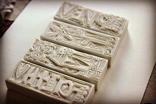 Stephanie ackerman hand carved stamps from erasers
