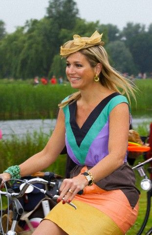 Dutch Queen Maxima rides the bike during the opening of the Maxima Park in the neighborhood Leidsche Rijn in Utrecht. The park is a green area of 300 hectare with a restaurant, a forest playground surrounded by a 8 kilometer green ribbon around the park