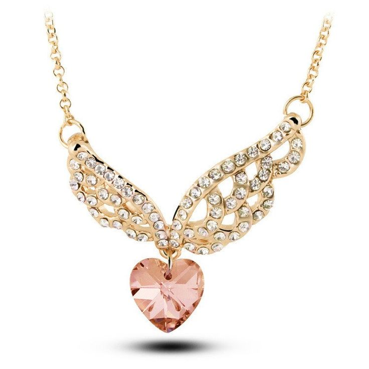 Angel Wings Gold Color Austrian Crystal Love Heart Shape Pendants Necklaces Short Chain for Women