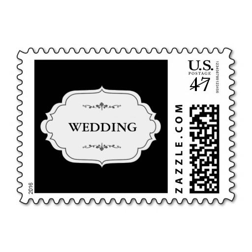 ELEGANT BLACK WEDDING TEXT POSTAGE STAMP