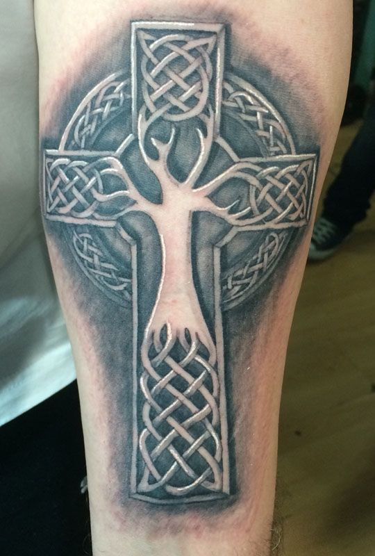 3D Celtic Cross Tree Tattoos for Men