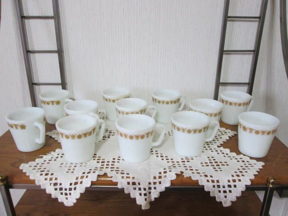 Pyrex Butterfly Gold Coffee Mug Cups Lot by TheTchotchkeBoutique
