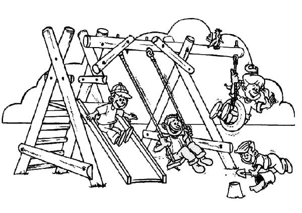 Back to School, : Enjoy the Playground After Going Back to School Coloring Page