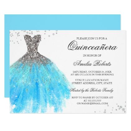 blue sparkle dress quinceanera invitation birthday invitations diy customize personalize card party gift - Quinceanera Invites