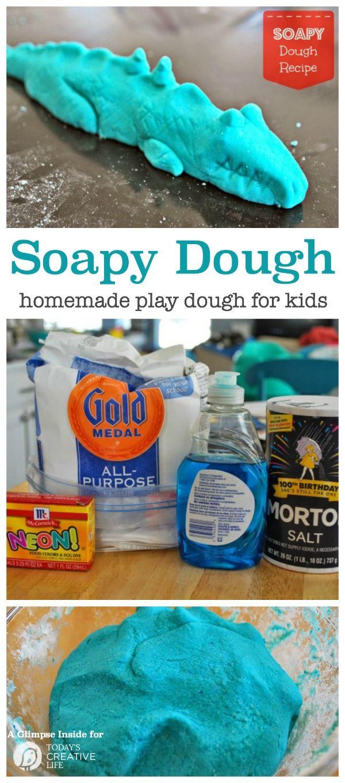 Soapy Dough Play Dough Recipe | This fun kids craft is fun to make and fun to…