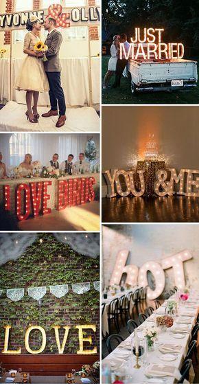 """Además puedes utilizar letras gigantes para boda para formar frases como """"AMOR""""…"""