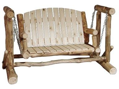 """Shop for Rustic Log Outdoor Glider (48""""W) in Natural Panel & Natural Log, OGLI-48-NN, and other OutdoorPatio Chairs at High Country Furniture & Design in Waynesville, NC - North Carolina."""