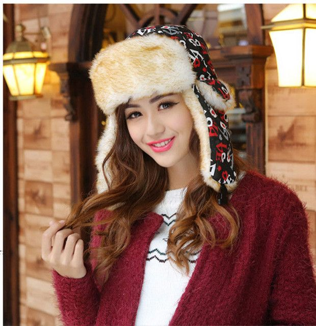 Love Woman Winter Hats Women Winter Hats Keep Warm Hat Fur Snow Cap Russian Winter Caps Adult Women Cap Woman Bomber Hats