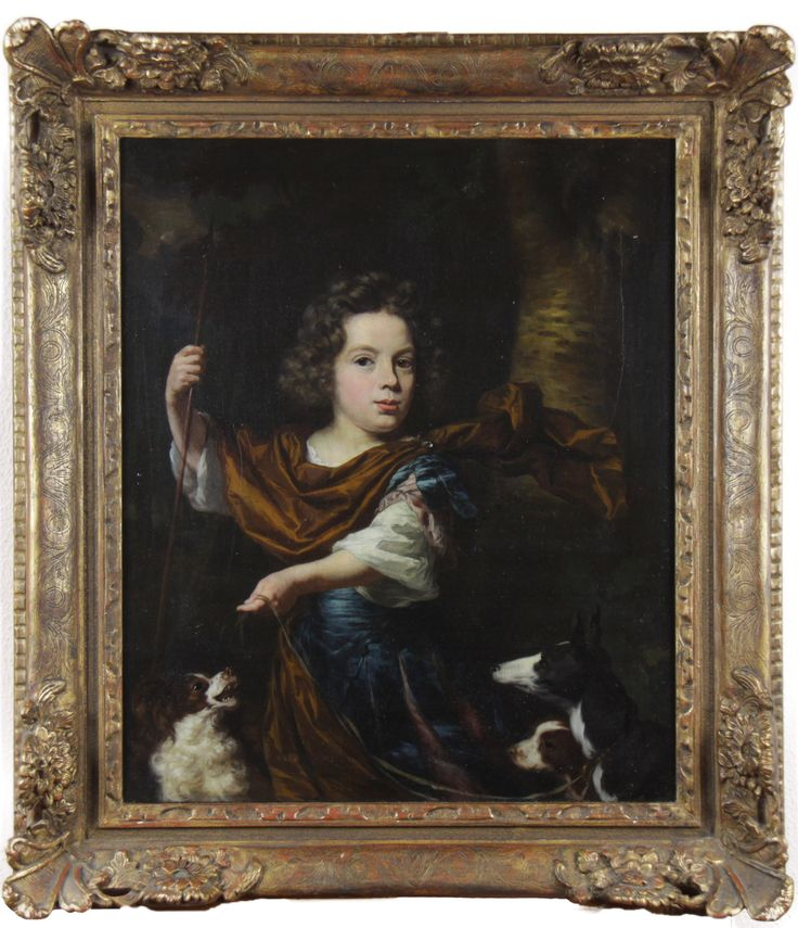 Nicolaes Maes // Portrait of a noble boy with dogs // Oil on Canvas