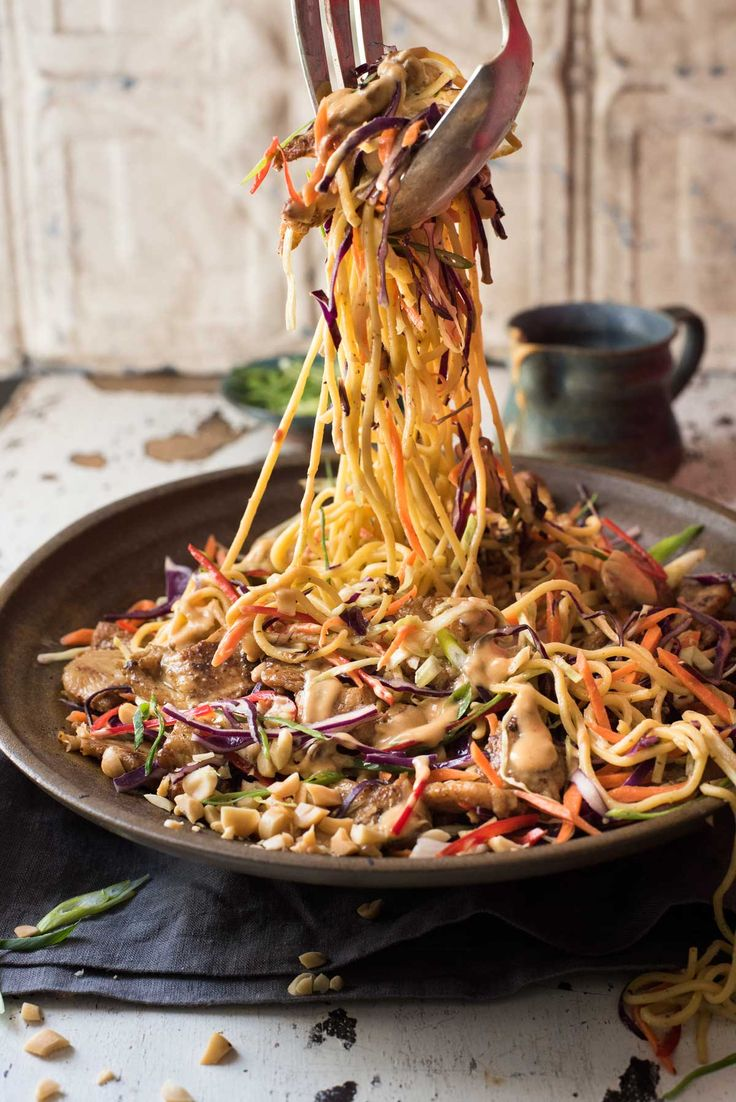 Satay Chicken Noodle Salad by recipetineats: Satay Chicken tossed with noodles, veggies and a scrumptious creamy peanut dressing. #Noodles #Chicken #Garlic #Sesame_Oil #Soy_Sauce #Sriracha #Lime