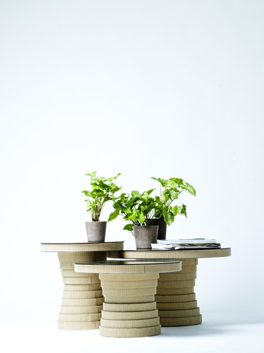 Handmade sidetables from cardboard