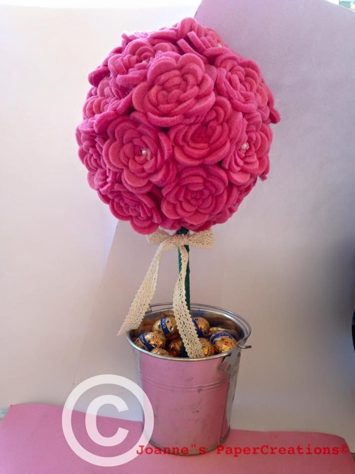 Pink Felt Rose Topiary as a centerpiece for Easter table crafted by Joanne's PaperCreations.
