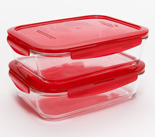 Locknlock Set Of 2 Large Glass Rectangle Storage Containers Qvc Com Rectangle Storage Storage Containers Container