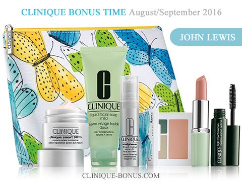 Bonus time at John Lewis in the United Kingdom. Purchase two or more Clinique products (instore) or purchase one of 18 Clinique bundles (online) to receive this gift. http://clinique-bonus.com/united-kingdom/