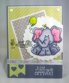 """High Hopes Stamps: Baby Just Arrived by Jane using """"Baby Elephant Celebrates""""…"""