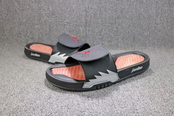 72395d4d579d Legit Cheap Jordan Hydro 5 Retro Black Fire Red-Metallic Silver Slide  Sandals