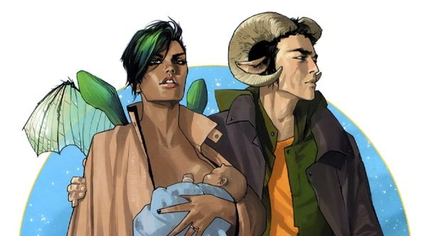 Saga: Like Star Wars, but Unfilmable and Brilliantly Bonkers  Brian K. Vaughan and Fiona Staples's comic-book epic proves there's still room for originality in the over-franchised world of sci-fi. http://www.theatlantic.com/entertainment/archive/2014/11/saga-is-a-space-opera-unlike-no-other/383142/