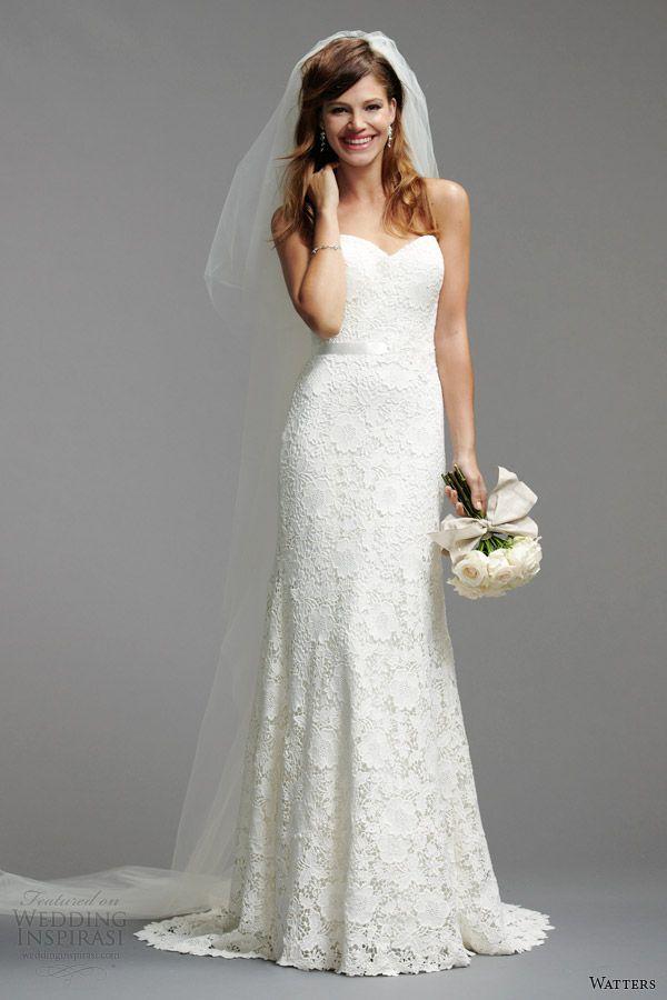 watters brides 2014 spring bridal strapless wedding dress style 5012B