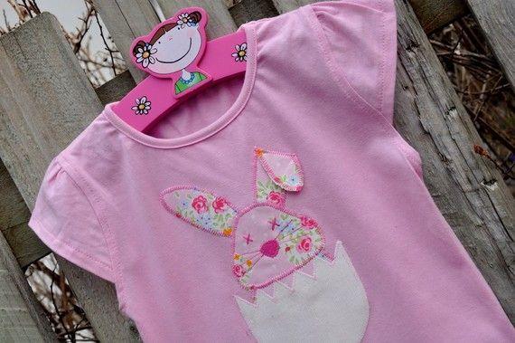 Girls Pink Tshirt  Handmade Bunny Rabbit by heatherstreasure, $15.50