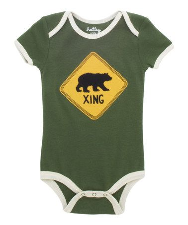 Love this Green 'Bear Xing' Bodysuit  - Someday I will have to have this for my Future Bear!!! #SicEm: Future Bears,  T-Shirt,  Tees Shirts, Bears Xing, Infants Zulilyfind, Green Bears, Baby Clothing, Baby Someday, Baylor Bears