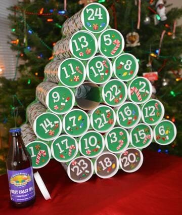 Beer advent calendar. Looks like Pringles cans wrapped with Christmas paper and put a different beer in everyday.