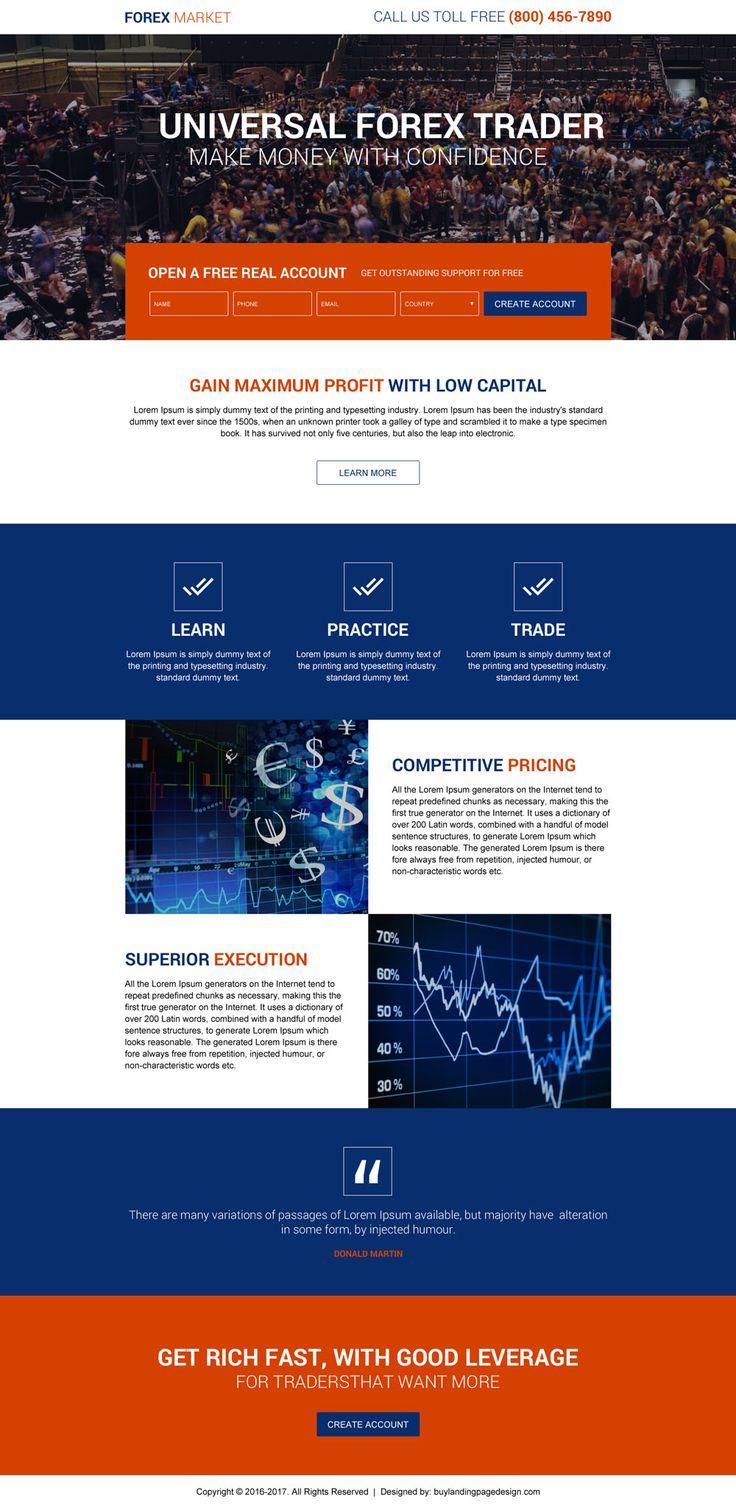 universal forex trading lead gen landing page design