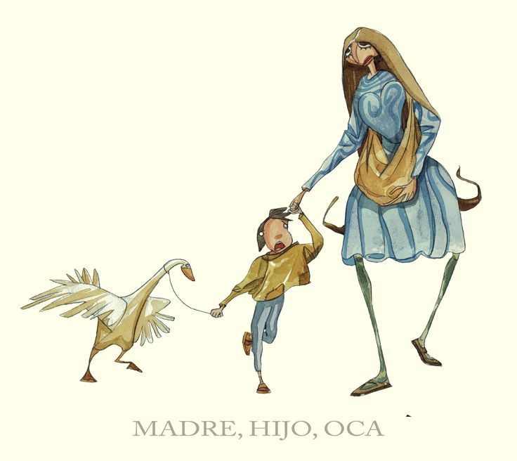 MOTHER, SON AND GOOSE