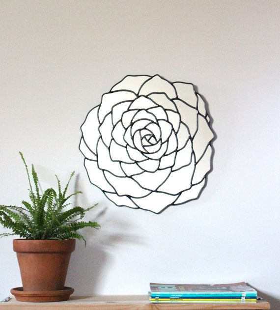 SALE SALE Succulent Flower Wall Mirror Organic Round by fluxglass