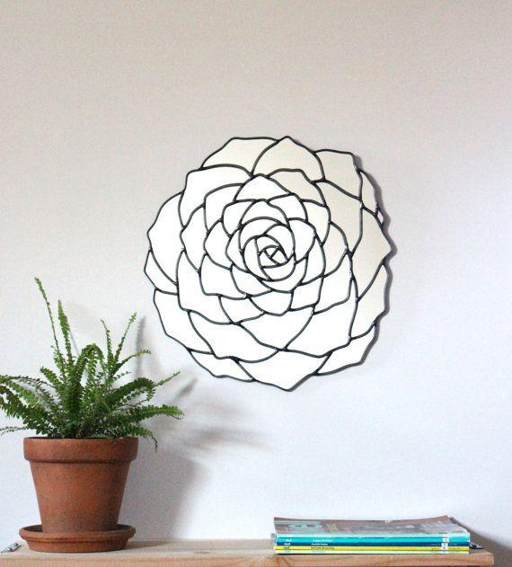 Succulentes fleur miroir mur organique rond ovale par fluxglass