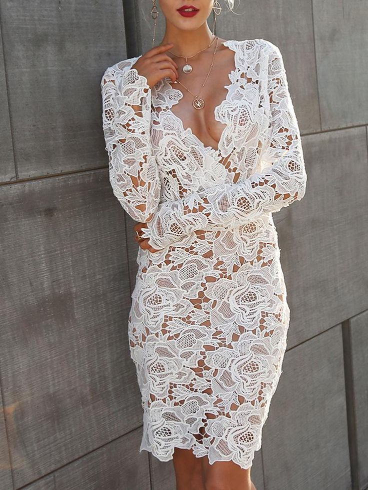 Skinny See Through Lace Crochet Bodycon Dress - White