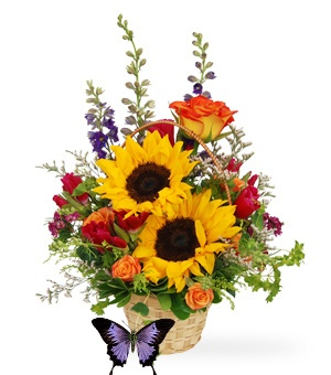 """''Under the Boardwalk'' is a mix of summer seasonal flowers which includes larkspar, sunflowers and more!  18"""" H  $54.00      http://www.thegardenbouquet.com/catalog/item/8524247/9378441.htm"""