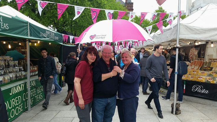 Allan, Jackie and Clodagh Cassin Market Manager of St Georges Market Belfast celebrating LYLM at The Belfast Continental Market in the grounds of City Hall this Bank Holiday weekend