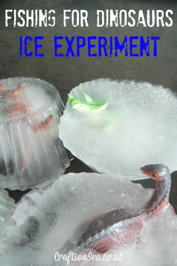 Dinosaur Experiment picking up ice with string and salt