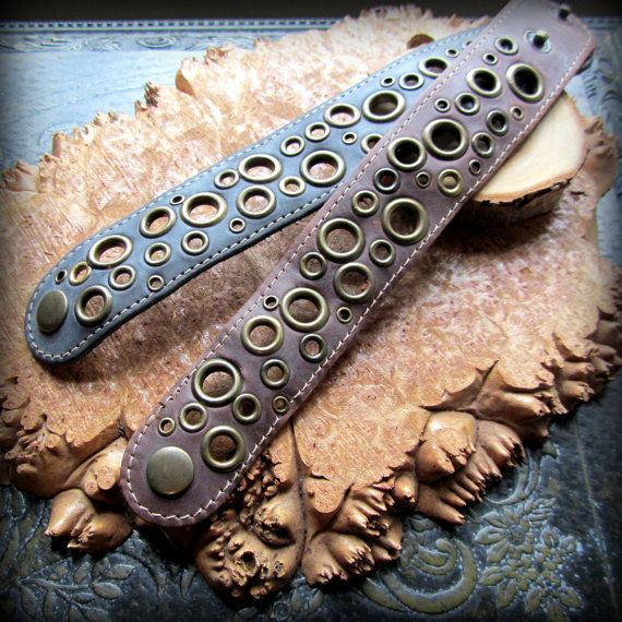 Leather bracelet cuff 1970's vintage style by silvergypsymoon