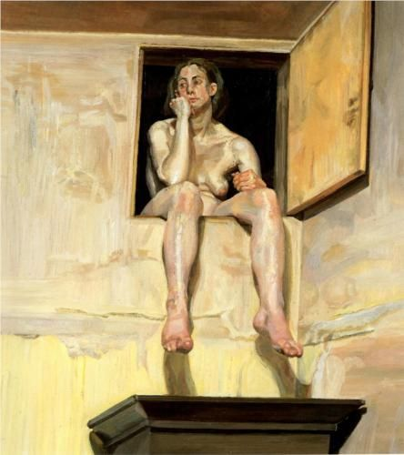 Girl Sitting in the Attic Doorway - Lucian Freud