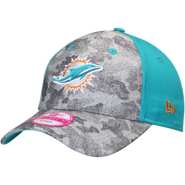 Miami Dolphins New Era Women's Glamo Camo 9FORTY Adjustable Hat - Gray/Aqua - $24.99